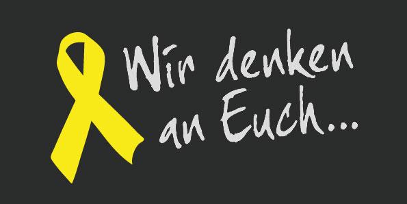 Gelbe Schleife + Wir denken an Euch