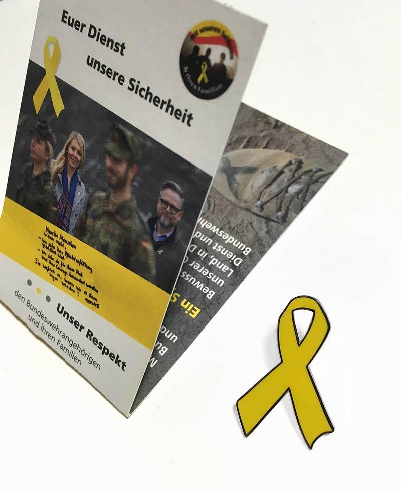 Gelbe Schleife Anstecker Magnetverschluss