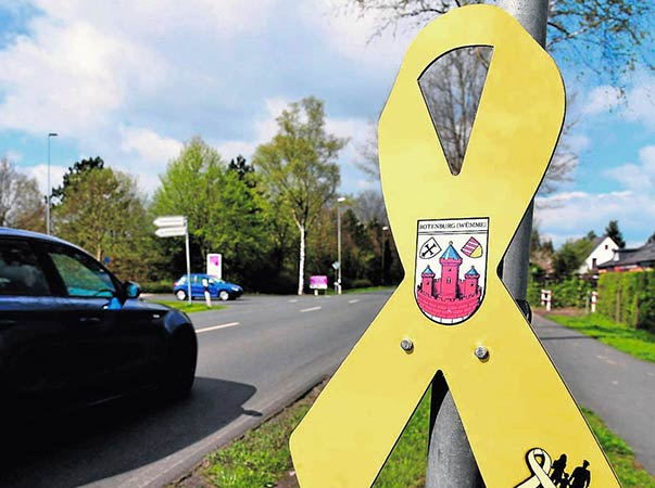 Gelbe Schleife Schilder z.B für Ortseingänge, Rathäuser usw.